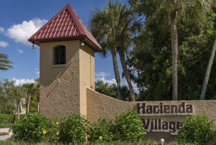 Hacienda Village mobile home community entrance sign